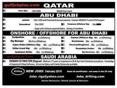 Rig Jobs In Qatar