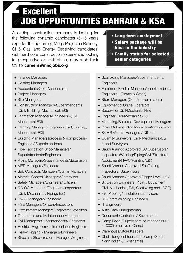 Latest Job Opportunities For Bahrain & KSA – Oil & Gas